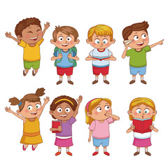 Students kids cartoon icon vector illustration graphic design