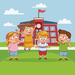 Kids in school cartoon icon vector illustration graphic design