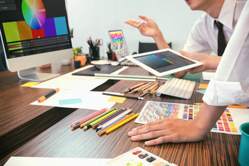 Artist creative meeting or brainstorming, graphic design concept.