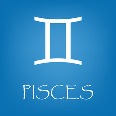 Pisces zodiac sign icon vector simple