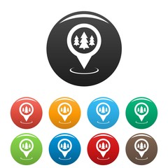 Forest map pointer icons set vector
