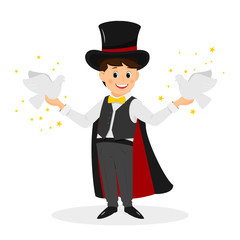 Magician with hat and white doves