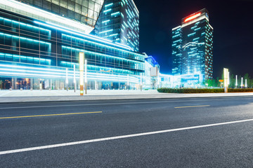 Fototapete - empty road with modern buildings on background,shanghai,china.
