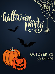 "Halloween party poster. Lettering ""Halloween"". 31 october. Poster for a party on All Saints Day. Flyer for a party."