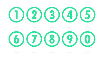Numbers in transparent circles icon vector
