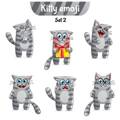 Vector set of tabby cat characters. Set 2