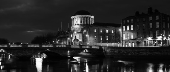 Four Courts building in Dublin, Ireland at night