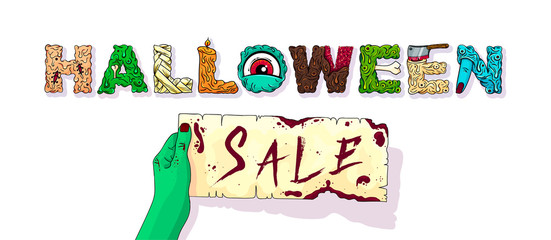 Halloween sale. Banner with lettering. Sale and discount! Vector illustration