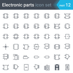 Complete vector set of electric and electronic circuit diagram symbols and elements - digital electronics, flip-flop, logic circuit, display, programming conventions