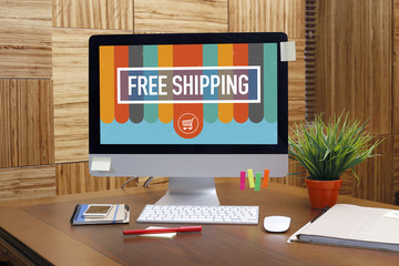 FREE SHIPPING text on screen