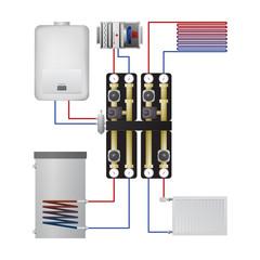 Piping condensing boiler