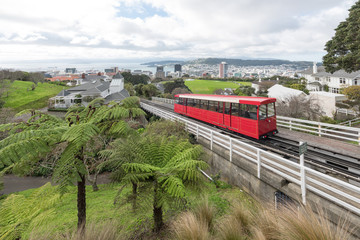 A funicular cable car in Wellington New Zealand