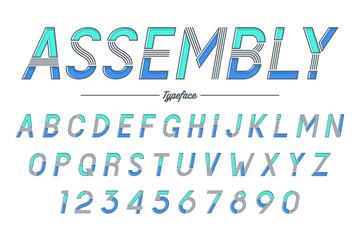 Assembly vector decorative italic font design, alphabet, typeface, typography