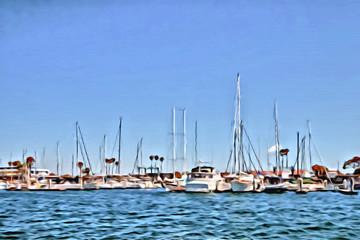 Acrylic Painting; Boats on Water at Marina Del Ray in Southern California