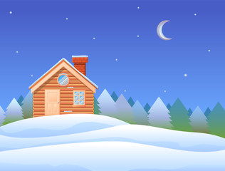 Small wooden cabin with chimney in snow mountain vector