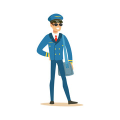 Smiling airline pilot character in blue uniform and sunglasses standing with bag, aircraft captain vector Illustration