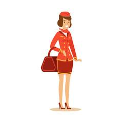 Smiling beautiful stewardess character in red uniform with bag, flight attendant on airplane vector Illustration