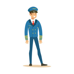 Smiling airline pilot character in blue uniform, aircraft captain vector Illustration