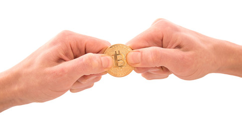 Golden Bitcoin in a man's hands, tug-of-war concept for business rivalry. Digitall symbol of a new virtual currency.