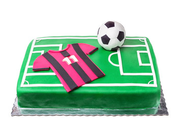 Birthday cake for football player, a football field and a T-shirt.