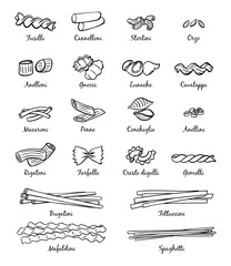 Linear pictures of classical italian food. Different types of pasta