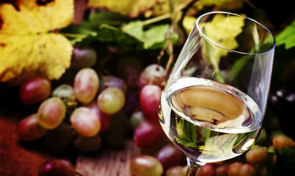 Dry white wine in glass, vintage wooden bakcground, selective focus