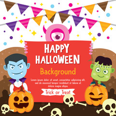 Happy Halloween background with Vampire and Frankenstein costume, Halloween greeting card with flag and pumpkin, Halloween vector illustration.