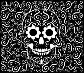 Skull vector ornament black and white