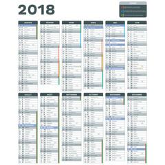 Calendrier 2018 détaillé