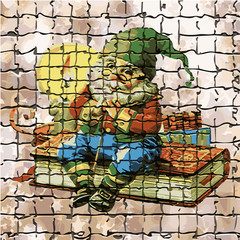 Texture, brick mosaic (wise Gnome), illustration,