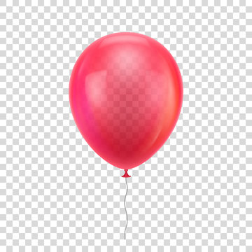 Red realistic balloon. Red ball isolated on a transparent background for designers and illustrators. Balloon as a vector illustration