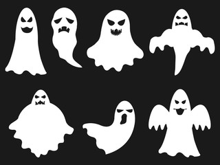 Halloween set of white ghosts