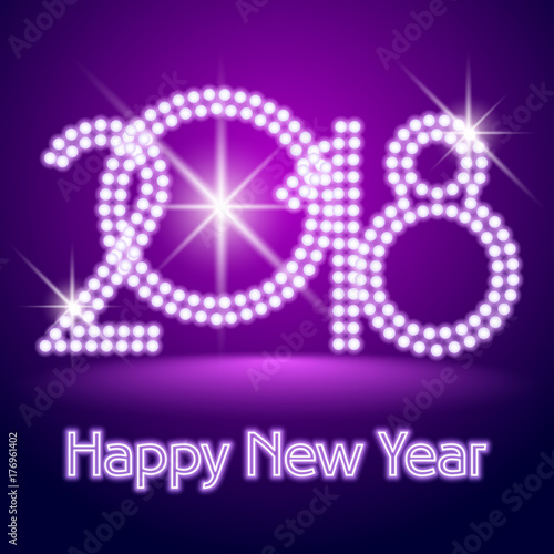 Vector Chic Light Up Happy New Year 2018 Greeting Card Neon Font