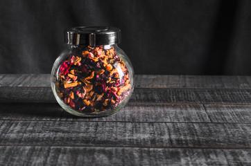 Herbal tea, carcade in a glass jar