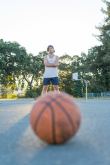 Basket ball and player on background