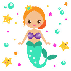 Cute Mermaid with starfishes. Cartoon character, kawaii style. vector illustration