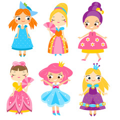 Cute princesses set. Girls in queen dresses. Vector collection of cartoon female characters