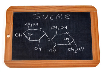 Formule chimique du sucre écrite sur une ardoise