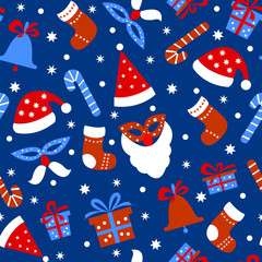 Seamless pattern background with Christmas items on a blue background.