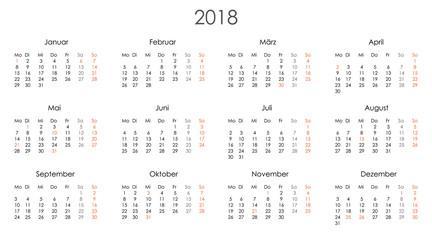 Kalender 2018 Jahresplaner Jahreskalender Kalendervorlage einfach