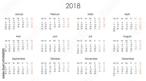 Kalender 2018 Jahresplaner Jahreskalender Kalendervorlage einfach ...