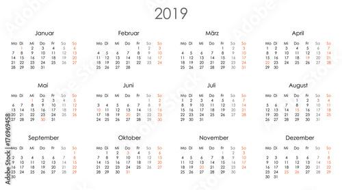 Kalender 2019 Jahresplaner Jahreskalender Kalendervorlage einfach