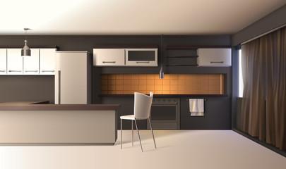 Modern Kitchen Realistic Interior