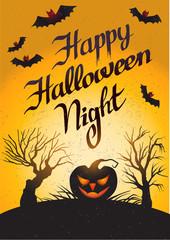 Happy Halloween Night: vector card with pumpkin.