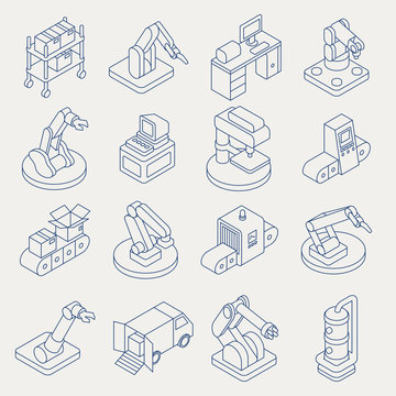 Automated production line vector isometric thin line icon set