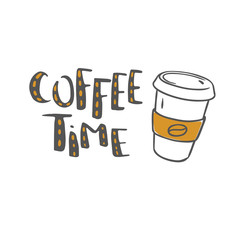 coffee time vector lettering