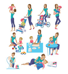 Set of mother and baby in different lifestyle situations.