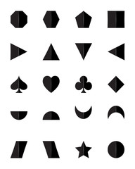 3D set of geometric shapes in black with shadow isolated on white background