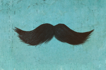 Black curly mustache in front of a blue background