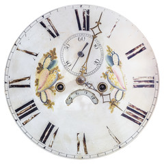Authentic eighteenth century clock face with painted decoration